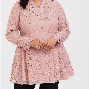 Torrid pink rose quartz lace trench coat